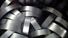 Simple mild steel bands rolled up on our power rolls. They form part of a flood light circular louvre system. Mild Steel Sheet, Steel Sheet Metal, Sheet Metal Work, Web Design, Chart Design, Stainless Steel Alloy, Layout, Home Pictures, Graphic