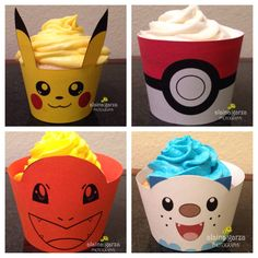 Pokemon 4 Pack, Pikachu Charmander Pokeball Oshawott, Cupcake wrapper holders birthday party