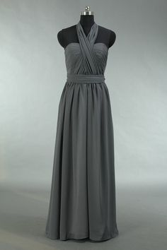 2014 Long Bridesmaid Chiffon  Prom Dresses Halterneck  Homecoming  Handmade Dresses Gray Plus size Dresses Ruffles Dresses
