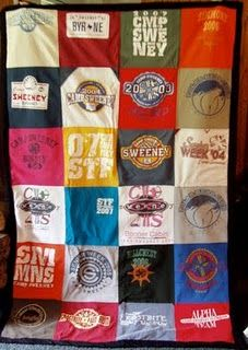T-shirt blanket. Want to make this out of  camp shirts.