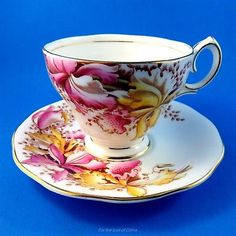 """Hand Painted Pink and Yellow """"Orchids"""" Bell Tea Cup and Saucer Set"""