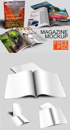 Free Magazine Mockups (Cover, Book, Magazine) #freepsdfiles #freepsdmockups #mockuptemplates