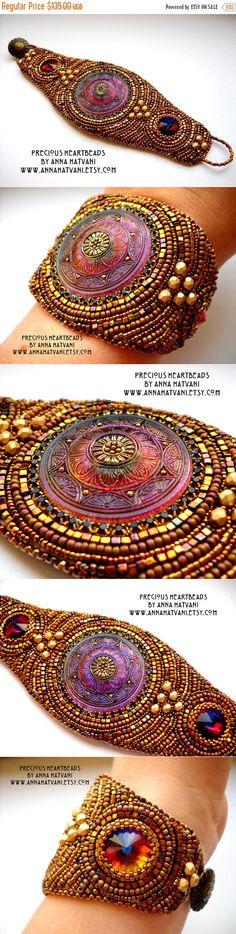 WINTER SALE 15% OFF Bead Embroidery Bracelet от PreciousHeartBeads