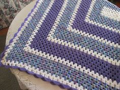 "READY TO SHIP - Purple and Aqua Varigated Crochet Afghan - Rectangular Granny Square Pattern - 48"" x 60"""
