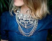 Artemis - Swarovski rhinestones and chain statement necklace - Made to order