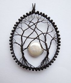 Moonrise wire wrapped tree pendant with freshwater pearl moon