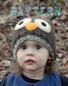 Knitwit Knits Owl Hat  PATTERN PDF 8 sizes by knitwitknits on Etsy, $6.00