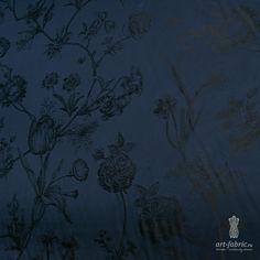 Подкладка (ботаника, королевский синий, жаккард) (005545) купить в интернет магазине итальянских тканей по цене 457 р.