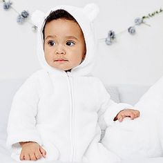 Buy White Fleece Romper - from The White Company