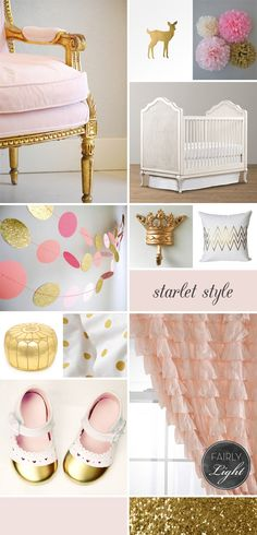 Oh my stars, I do need to have a little granddaughter some day cause she would have a room like this at my house! Pink Gold Baby Girl Nursery
