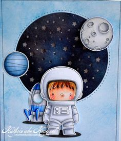 6 April 2017 | Kruemels Bastel-Blog | The single images from the Space Explorer stamp set have been stamped with light grey ink to not have so hard outlines. Then I've colored everything in and cut it out. The rocket and the left planet are glued directly to the card, the right planet and the astronaut are attached with 3D tape to add some more depth. For the same reason I've put two of the Oval Shadows under/behind the rocket and astronaut.