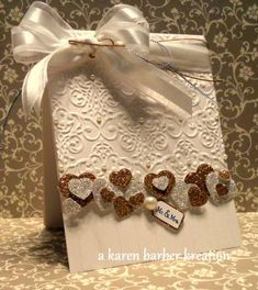 l♥ve the creamy card color & the embossing.by Karen B Barber - Cards and Paper Crafts at Splitcoaststampers. Wedding Anniversary Cards, Wedding Cards, Valentine Love Cards, Valentines, Stampin Up Karten, Engagement Cards, Embossed Cards, Heart Cards, Pretty Cards