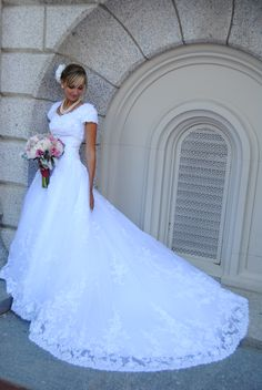 Wedding Dress Mermaid White Cap Sleeves Lace Court Train Wedding Dresses Bridal Gown sold by cutebridal. Shop more products from cutebridal on Storenvy, the home of independent small businesses all over the world. Modest Wedding Gowns, Western Wedding Dresses, Designer Wedding Dresses, Bridal Dresses, Modest Dresses, Bridesmaid Dresses, Prom Dresses, How To Dress For A Wedding, Wedding Dress Train