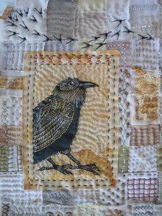"""Season of the Crow"" art quilt by Meg Fowler Small Quilts, Mini Quilts, Bird Quilt, Embroidered Bird, Hand Quilting, Crazy Quilting, Bird Art, Fabric Art, Textile Art"