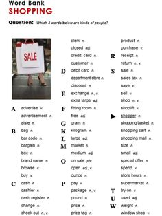 Shopping, English, Learning English, Vocabulary, ESL, English Phrases, http://www.allthingstopics.com/shopping.html