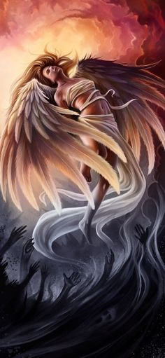 The Archangels oversee and guide Guardian Angels who are with us on earth. The most widely known Archangel Gabriel, Michael, Raphael, and Uriel. Angels Among Us, Angels And Demons, Fallen Angels, Fallen Angel Meaning, Fallen Angel Wings, Dark Angels, Fantasy Kunst, Fantasy Art, Ange Demon