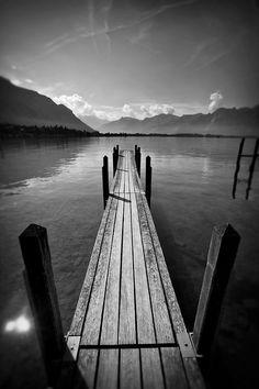 Pier overlooking scenic Lake Geneva in Montreux, Switzerland  © John Bragg Photography
