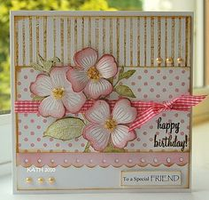 I am having great fun playing with my new Hero Arts and love this dogwood stamp inked with Shadow Ink Soft Blossom. Cool Cards, Diy Cards, Shabby, Pretty Cards, Card Sketches, Happy Birthday Cards, Copics, Card Tags, Flower Cards