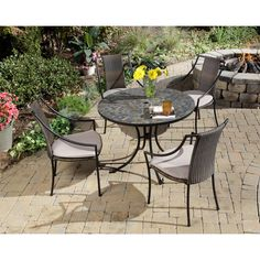 Stone Harbor 5-piece Slate Dining Set by Home Styles (Stone Harbor 5PC Slate Dining Set), Black, Size 5-Piece Sets, Patio Furniture (Steel)