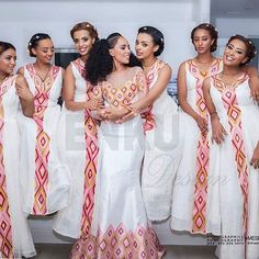 Repost from - Those beautiful girls with Enku Design Pink - via Ethiopian Traditional Dress, African Traditional Wedding Dress, African Fashion Traditional, Traditional Outfits, African Prom Dresses, Latest African Fashion Dresses, African Print Fashion, African Dress, Ethiopian Wedding Dress