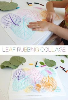 Leave rubbing collage diy craft crafts diy crafts do it yourself diy projects kids crafts kids activities diy and crafts