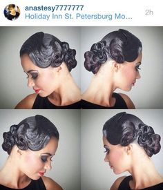 Low bun hairstyle with big swirl on the side and smaller swirls closer to the bun for both; latin and standard