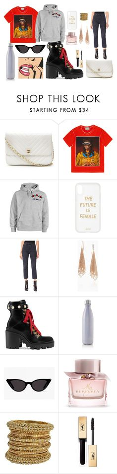 """Goals"" by vrogers0806 on Polyvore featuring Chanel, Gucci, Sonix, AGOLDE, Elsa Peretti, S'well, Burberry and Yves Saint Laurent"