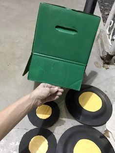 Here's an easy Halloween costume idea for your tractor loving toddler. make a cardboard box tractor out of a diaper box! Toddler Cowboy Costume, Toddler Pumpkin Costume, Toddler Boy Halloween Costumes, Halloween Kids, Farm Costumes, Diy Costumes For Boys, Sibling Halloween Costumes, Homemade Costumes, Costume Box