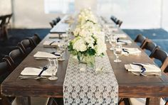 Simple and rustic table lends an elegant and earthy feel.