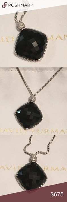 "David Yurman 20x20mm Onyx CushionOn Point Necklace This stunning necklace features a huge center stone of Onyx with Diamond accents:  * 20mm x 20mm Cushion Cut Black Onyx * Twisted Cable Setting * Pave' Diamond Accented Bale (0.14 tcw) * 19"" 1.7mm Baby Box Chain * Sterling Silver * Hallmarked (c) D.Y. 925 * David Yurman Pouch  In excellent condition. Authenticity will be verified by Poshmark Concierge before shipping the necklace to the buyer. David Yurman Jewelry Necklaces"
