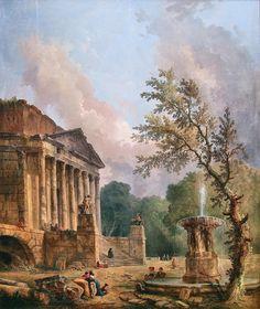 Hubert Robert - Alte Pinakothek. Landschaft mit römischer Tempelruine (c. 1773)