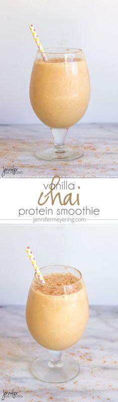 Vanille-Chai-Protein-Shake - New Ideas Protein Smoothies, Smoothie Proteine, Protein Snacks, Breakfast Smoothies, Turmeric Smoothie, Fruit Smoothies, Protein Powder Recipes, Protein Shake Recipes, Smoothie Recipes