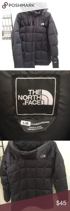 North Face Women's 600 Jacket Pewter with Hood - L Beautiful North Face Coat - gently used condition with minor flaws.  The material is silky and has a sheen to the finish. The color is not black more of a pewter. Unique and classy looking north face.  Hood is detachable with snaps. Super warm and comfy coat! Minor wear on the back please see photo. Selling at a good price do to the tab on the zipper being missing and the small scuffs. Could easily be fixed as the main part of the zipper is…