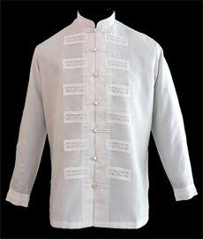 White Barong Tagalog - Barongs R us Barong Wedding, Wedding Men, Dream Wedding, Wedding Ideas, Chinese Collar Shirt, Barong Tagalog, Filipiniana Dress, Philippines Fashion, African Shirts