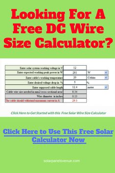 Free solar panel calculator and solar power calculator pinterest free solar cable size calculator looking for a free dc wire greentooth Gallery
