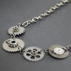 Steampunk Jewelry Silver Upcycled Clock Gear Industrial by Tanith, $30.00
