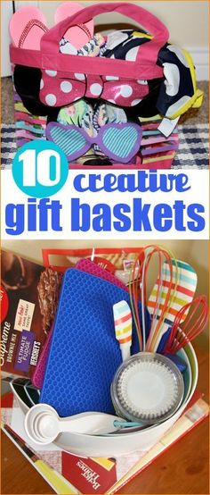 10 Creative Gift Baskets for all ages and all occasions.  Unique Easter baskets.
