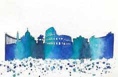 Rome Skyline Original Watercolor Painting by NiksPaintGallery