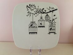 Items similar to Hand Painted Ceramic Square Sushi Plate - Vintage Bird Cage Design on Etsy Ceramic Birds, Ceramic Plates, Bird Cage Design, Sushi Plate, Personalized Plates, Painted Trays, Square Plates, Pottery Plates, Pottery Designs