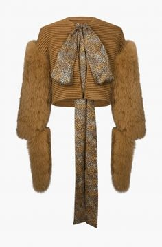 Fox fur sleeves knitted jacket