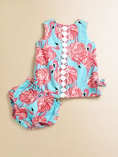 Lily Pulitzer Shift Dress & Bloomers for my new baby cousin due in February.  Love the flamingo print and the scalloped lace design down the front, so classic Lily. This would look SO cute on a baby girl! Heck, I would even wear it, does it come in my size?