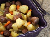 Roasted Potato and Sausage Dinner...OMG I made this tonight for dinner (minus the onions, of course!) and everybody gobbled it up! I added celery because we had plenty left over from our swiss steak extravaganza last weekend, and used both red and gold potatoes....it was delicious!