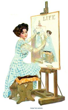 """""""From the Mirror"""",  Cover of  August 19, 1909,  issue of """"Life""""  Art by Coles Phillips, Woman using a mirror to draw a self-portrait, leading to recursive """"Droste Effect"""". The Droste effect — known as mise en abyme in art — is the effect of a picture appearing within itself, in a place where a similar picture would realistically be expected to appear. The appearance is recursive: the smaller version contains an even smaller version of the picture, and so on."""
