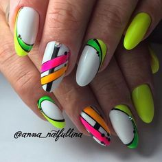 Nails Design Stiletto Neon Ideas For 2019 – neon nail art Neon Nail Art, Neon Nails, My Nails, Funky Nail Art, Fancy Nails, Trendy Nails, Cute Nails, Yellow Nails Design, Yellow Nail Art