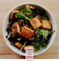 Lazy cheap: Tofu lentil salad. Would make a good low carb high protein lunch.