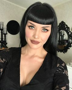 "Long Black Wig Human Hair Blend With Bangs ""Nice quality"" New Never Worn Pin Up Bangs, Pin Up Hair, Hair Bangs, Goth Hair, Grunge Hair, Black Wig, Long Black Hair, Retro Hairstyles, Hairstyles With Bangs"