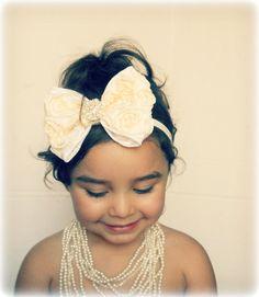 Vintage Inspired,shabby Baby Girl Ivory -Cream Rosette Bow, elastic headband,Toddler ,Infant ,girl headband. via Etsy