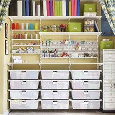 White elfa Craft Nook with Mesh Drawers