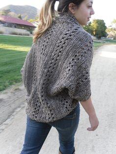 PDF PATTERN Crochet Shrug Cardigan Shawl w/Sleeves Easy/Beginner