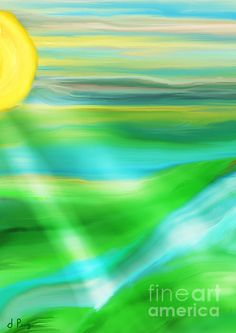 """Morning Has Broken""  Digital Abstract Painting by D. Perry"